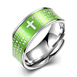 Concise Green Color Titanium Steel Cross Figure Eternity Band Wedding Ring Jewellery for Women Accessiories