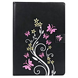 For Apple iPad Air 2 Air Case Cover Card Holder with Stand Embossed Full Body Butterfly Hard PU Leather
