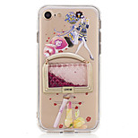 For DIY Flowing Liquid Transparent Case Back Cover Case Sexy Lady Glitter Shine Soft TPU for iPhone 7 Plus 7 6s Plus 6