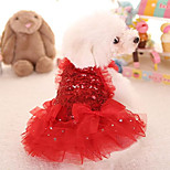 Cat Dog Dress Red Pink Dog Clothes Summer Spring/Fall Princess Cute