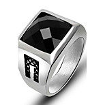 Ring Square Titanium Steel Flower Black Red Jewelry For Daily 1pc