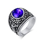 Ring Bohemian Steel Round Black Purple Red Jewelry For Daily 1pc