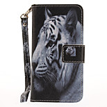 For Apple iPhone 7 7 Plus 6S 6 Plus SE 5S 5 Case Cover White Tiger Pattern Painted Card Stent Wallet PU Skin Material Phone Case