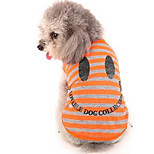 Dog Dress Dog Clothes Spring/Fall Stripe Cute Casual/Daily Orange Green