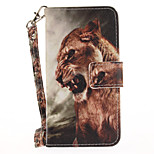 For Apple iPhone 7 7 Plus 6S 6 Plus SE 5S 5 Case Cover Lion Pattern Painted Card Stent Wallet PU Skin Material Phone Case
