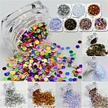 9bottle/set Hot Fashion Nail Art 3d Glitter Round Paillette Colorful Thin Round Bling Slice Colorful Nail Sparkling Decoration For Nail Beauty Y01-09