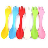 6 PCS Set 3 in 1 Plastic Dinner Fork Sugar Spoon Spoons Forks Knives