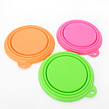 Cat Dog Bowls & Water Bottles Pet Bowls & Feeding Waterproof Portable Foldable Red Green Blue Pink Yellow Orange Silicone
