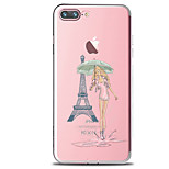 For IPhone 7 Case Back Cover Case TPU Beauty Girl And Tower Pattern for iPhone 7/ 7 Plus 6s/ 6 /6s Plus / 6 Plus/ SE / 5s / 5 /5C/ 4/4s