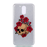 For Double IMD Case Back Cover Case Rose Skeleton pattern Soft TPU for Moto G4 Plus Moto G4