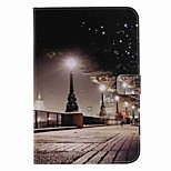 For Card Holder Wallet with Stand Auto Sleep/Wake Flip Pattern Case Full Body Case City View Scenery Hard PU Leather for Apple iPad Mini 4 Mini 3/2/1