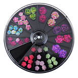 Black Large Size 8*8cm Wheel 49Pcs Floral Studs Supplies For Nails 3D Colorful Resin Flower Design Nail Art Decorations