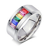 Crystal Ring for Women 316l Stainless Steel Fashion Female Rainbow Color Stone Ring