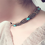 Women's Choker Necklaces Turquoise Single Strand Alloy Euramerican Vintage Jewelry For Special Occasion Daily Casual 1pc