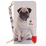 For Apple iPhone 7 7 Plus 6S 6 Plus SE 5S 5 Case Cover Dog Pattern Painted Card Stent Wallet PU Skin Material Phone Case