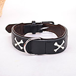 Dog Collar Adjustable/Retractable Solid PU Leather Black Brown Red