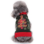 Cat Dog Sweater Dog Clothes Winter Floral / Botanical Cute Fashion Christmas Grey Christmas Tree Star Bone for Pets Dogs