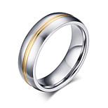 Men's 6mm Titanium Steel Golden fashion ring High Quality Rings for Male Jewelry wholesale R-055