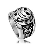 Vintage Letter Skeleton Biker Jewelry Ghost Head Womens Ring Mens Titanium Stainless Steel Index Finger Rings Black Silver