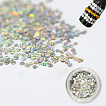 1 Bottle Fashion Silver Laser Glitter Stripe Round Paillette Nail Glitter Decoration Nail DIY Beauty Shiny Clear Thin Slice TW09