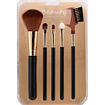 Sandepin Black Color 5 Makeup Brush Set Synthetic Hair Travel For Beginner With Box