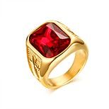 European Style Trendy Jewelry 15.5MM Stainless Steel Red Rhinestones Ring Gold Color Luxury Engaged Rings Men RC-337