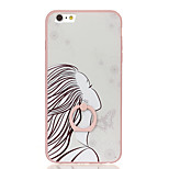 For Ring Holder Pattern Case Back Cover Case Sexy Lady Hard PC for Apple iPhone 6s Plus iPhone 6 Plus iPhone 6s iPhone 6