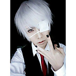 Parrucche Cosplay Maschera Tokyo Ghoul Ken Kaneki Argento Corto Anime Parrucche Cosplay 26 CM