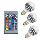 3 pcs-3W E26/E27 LED Globe Bulbs G50 1 COB 300 lm RGB Dimmable Remote-Controlled Decorative AC 85-265 V