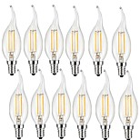 2W E14 LED Filament Bulbs CA35 2 COB 200 lm Warm White Decorative AC 220-240 V 12 pcs