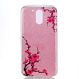 For Moto G4 Plus Moto G4 Double IMD Case Back Cover Case Diagonal plum flower pattern Soft TPU
