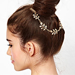 1 Pcs Metal Chain Leaves Combs Accessories Leaves Double Inserted Comb Hair Band