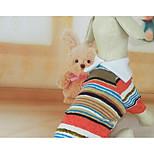 Dog Shirt / T-Shirt Dog Clothes Spring/Fall Stripe Cute Casual/Daily Rainbow