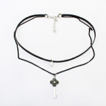 Women's Choker Necklaces Rhinestone Alloy Double-layer Fashion Euramerican Black Jewelry For Party Daily 1pc