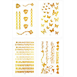 6Pcs Waterproof Tattoo Golden Gold Arabic Fake Glitter Metallic Temporary Tattoo Stickers
