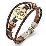 Unsex Vintage Aries Weave Leather Bracelet   Jewelry For Daily 1 pc