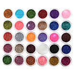 30Pcs New Beauty 30 Mixed Colors Eyeshadow Powder Pigment Glitter Mineral Spangle Nail Makeup Nail Glitters Nail Sequins Nail Art Decorations