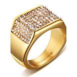 Массивные кольца Кольцо Кристалл Мода Панк По заказу покупателя Хип-хоп Rock Euramerican Титановая сталь В форме квадрата Золотой