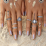 Vintage 8 pcs Bohemian Beach Opal Ring Set Ethnic Antique Silver Color Water Drop Midi Finger Boho Rings Set Charm Anell