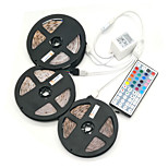 ZDM 15M(3*5M) Waterproof  72W 900X2835 RGB LEDs Strip Flexible Light  DC 12V 1BIN3 connector with 44Key IR Remote Controller Kit