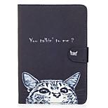 Para apple ipad mini 4 3 2 1 caso capa gato padrão pintado cartão stent carteira pu material de pele plana escudo protetor