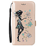 For Apple iPhone 7 7 Plus 6S 6 Plus SE 5S Case Cover Butterfly Girl Pattern Embossed Flash Powder PU Skin Material Card Stent Phone Case