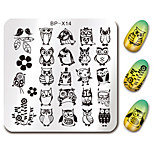 BORN PRETTY 6*6cm Square Nail Art Stamp Stamping Plates Template Owl Design Flower Image Plate Stencil for Nails BP-X14