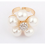 Korean Style Fashion Luxury Diamond Exquisite Pearl Flower Ring Gift Jewelry