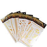 6Pcs/Lot Waterproof  Temporary Gold Arabic Tattoo Dancing Feather Glitter  Tattoo Sticker