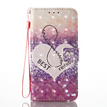 For Huawei P8 Lite (2017) P9 Lite Case Cover Love Pattern Glare 3D Dimensional Glossy PU Material Stent Card Holster