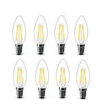 3.5 E14 Lâmpadas de Filamento de LED C35 4 COB 400 lm Branco Quente Decorativa AC220 AC230 AC240 V 8 Pças.