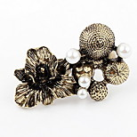 Korean Style Fashion Copper Flower  Mushroom  Pearl Double Cuff Rings
