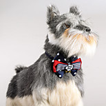 Cat Dog Adjustable  Polka Dots Collar Bowtie With Bells