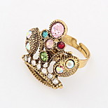 Euramerican Multicolor Vintage Bohemian Multi-stone Women's Casual Cuff Crown Ring Movie Jewelry
